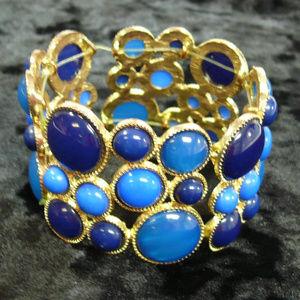 Triple Blue mod stretch bracelet gold tone